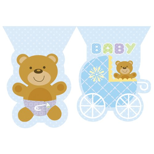Creative Converting Baby Shower Teddy Baby Blue Flag Banner