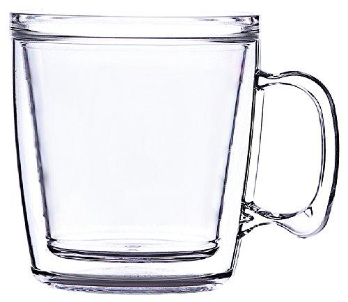 Signature Tumbler Plastic Glass Unbreakable Double-Wall Insulated Coffee Mug Single 12 Oz Clear