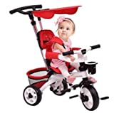K&A Company Tricycle Stroller Baby Kids Ride Toddler Bike Toy Trike Child Push Outdoor Detachable with Flatt Canopy & Basket in Red