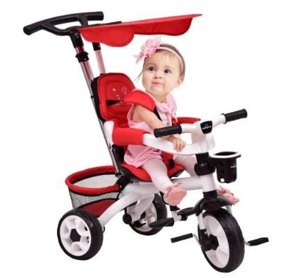 K&A Company Tricycle Stroller Baby Kids Ride Toddler Bike Toy Trike Child Push Outdoor Detachable with Flatt Canopy & Basket in Red by K&A Company