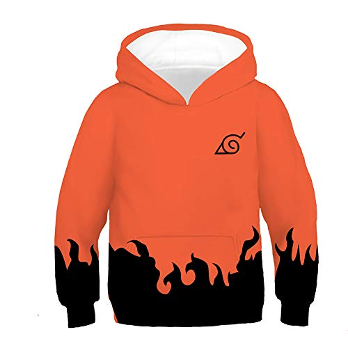 LoveCos Toddler Kids Anime Naruto Hoodie for Boys Uzumaki 6th Cosplay Costume Pullover Sweatshirt Outerwear