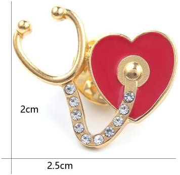 BELUCKIN 3 PCS Heart Stethoscope Doctor Nurse Brooch Pin Sets Jewelry for Graduation Medical Student Gifts