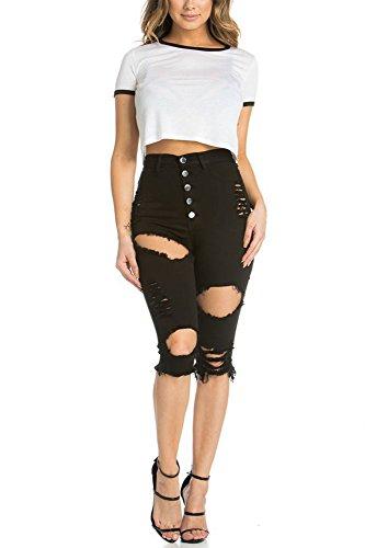 Sexy I Monopetto Pantaloncini Estremità Sollevamento Matita A Dei Delle Signore Di Alta Pantaloni Dimagriscono Che Jeans Sfilacciato Vita Nero qBBAzI