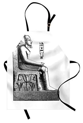 Ambesonne Egyptian Apron, Antique Era Egypt Pharaoh King Pose with a Bird Hawk Sketch Image, Unisex Kitchen Bib with Adjustable Neck for Cooking Gardening, Adult Size, White Black]()