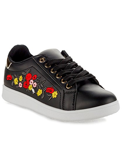 ROF Embroidered Floral Metallic Lace Up Low Top Sneaker - PA06 BLACK (8)