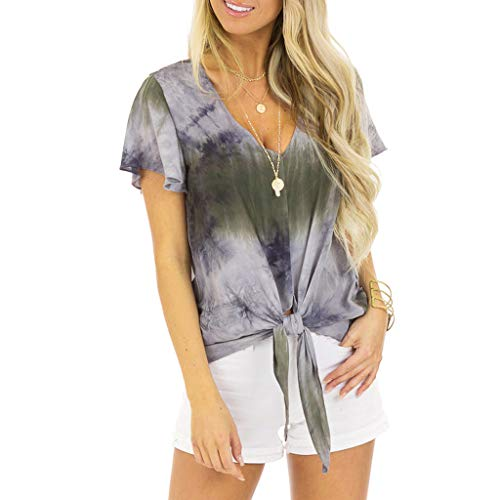Sunhusing Womens Sexy V-Neck Short-Sleeve Gradient Tie-Dyed Printed Hem Knotted Casual T-Shirt Tops Gray -