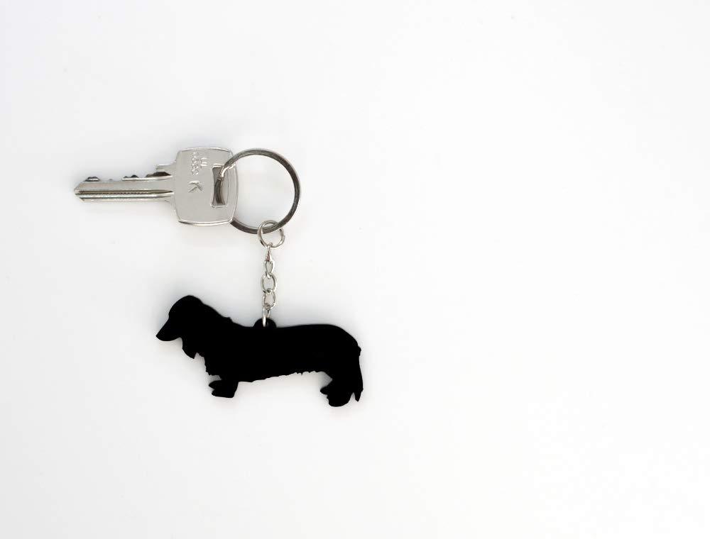 Long haired dachshund keyring