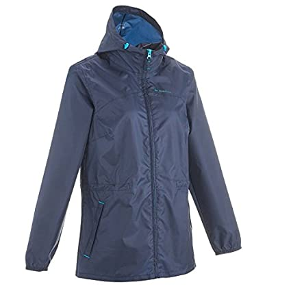 Quechua Women's Raincut Zip Waterproof Nature Hiking Rain Jacket - Navy Women's Rainwear at amazon