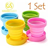 Gouda Select Collapsible Cups Camping Cups - Light and Small Easy to Carry for School - Outdoors - Travel Cups - 4 cups 4 colors