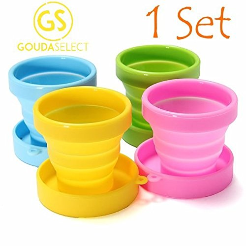 Gouda Select Collapsible Cups Camping Cups Travel Cup 4 cups 4 colors Foldable Silicone Lightweight
