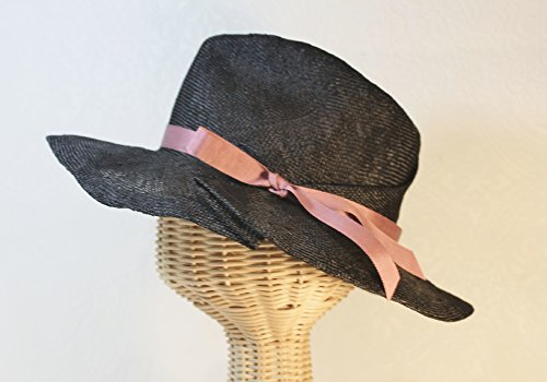 Women's Black Straw Rosalind Pleated Brim Fedora by Bonnet