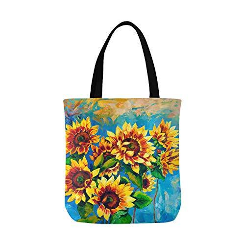 (Retro Sunflower Canvas Tote Bag Handbag Purse for Women)