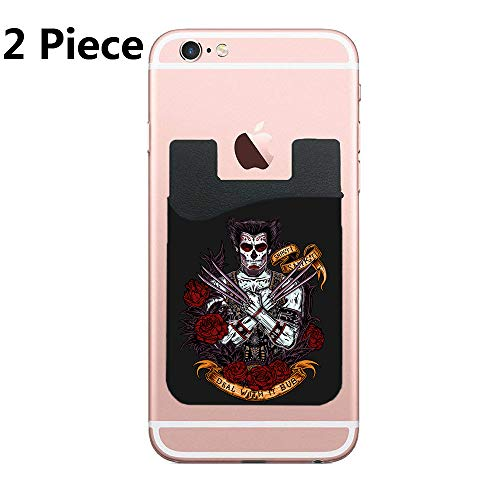 Day of The Dead Weapon Cell Phone Stick On Wallet Card Holder Phone Pocket for iPhone, Android and All Smartphones - Black - 2 Piece