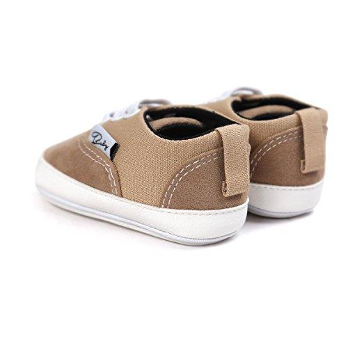 Itaar bebé lienzo zapatillas deportivas antideslizante suela de goma sandalias zapatos con encaje elástico para Infant Toddler niños y niñas primer Walking rosa rosa Talla:0-6 meses caqui