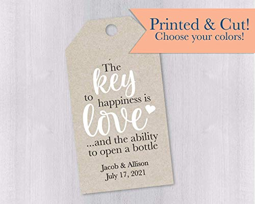 (Key to Happiness is Love Kraft Brown Favor Tags (MLT-649-KR))