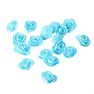 Macrorun 500pcs 3.5cm Artificial Foam Roses 3D Real Touch Flower DIY Craft Decoration Without Stem for Wedding Bouquet Party Home (Sky Blue) 38