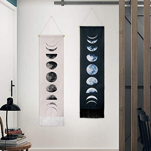 Tapestry Wall Hanging Tapestries Nine Phases of the Full Growth Cycle of the Moon Wall Tapestry Cotton Linen Wall Art, Modern Home Decor Black White Moon Phase Change, 12.99 x 52.75
