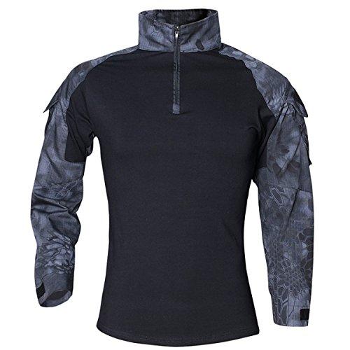 - QCHENG Men's Tactical Airsoft Shirt Military Tactical BDU Combat T-Shirt Assault Long Sleeve Slim Fit Outdoor Army Multicam (Black Python Medium)
