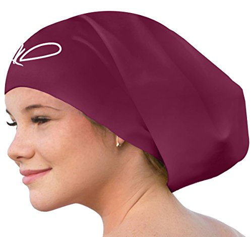 [Lahtak ™ Extra Large Swimming Cap - Stylish, Waterproof Silicone Swim Hat for Long Hair Women & Men| Designed for Thick, Curly or Dreadlocks Hair | Suits Recreational Swimmers (W Wine] (Extra Head Costume)