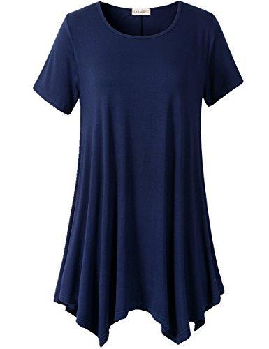 LARACE Women Plus Size Tunic for Leggings Long Tops(4X, Navy Blue)