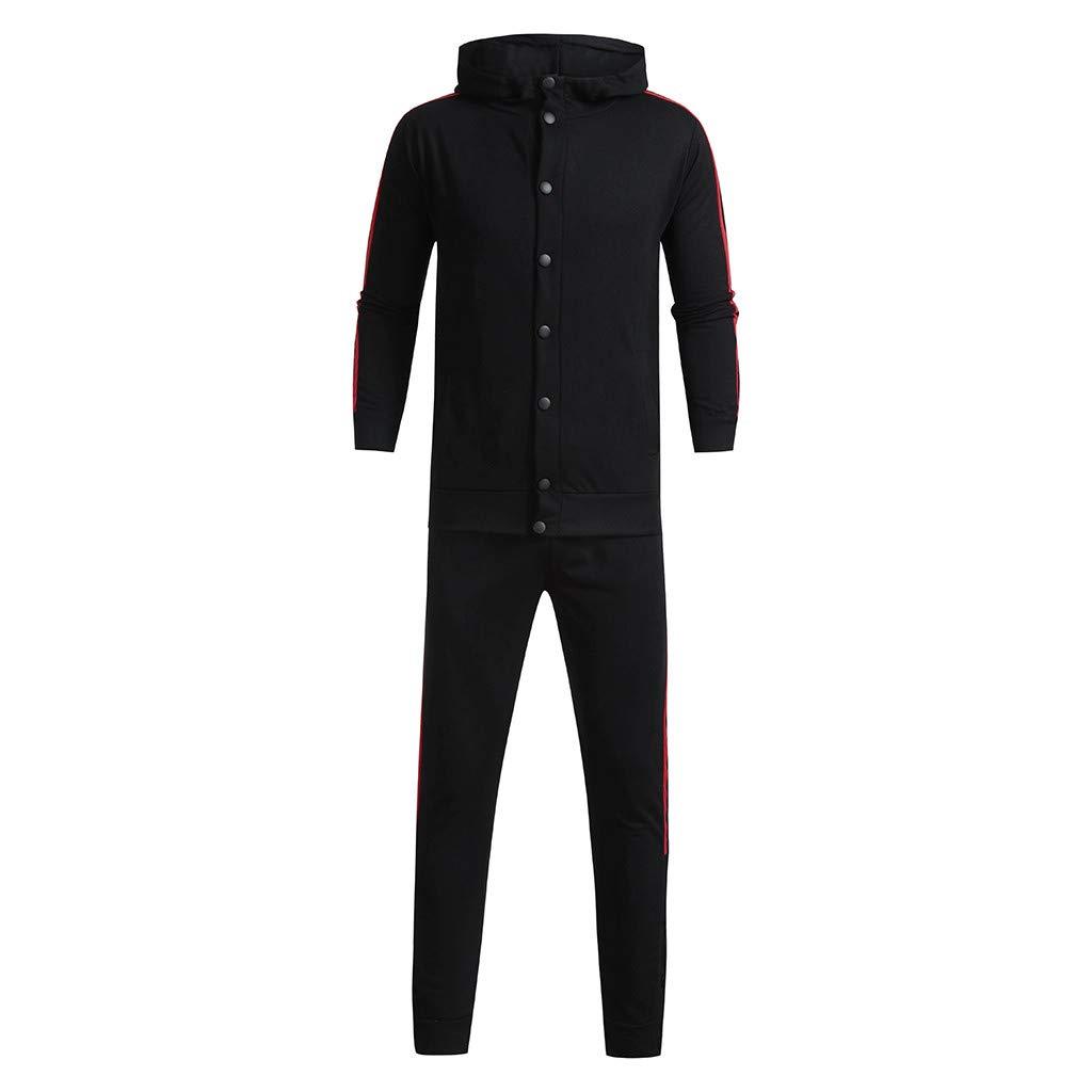 Jiayit Mens Sport Suit Tracksuit Casual Button Hooded Sweatshirt Top Pants Sets 2Pc
