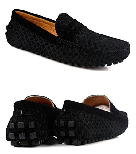 Santimon-Hombres Casual Comfort Genuine Nubuck Leather Outdoor Low Boat Zapatos Mocasin Mocasines Negro