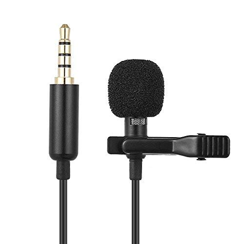 Lavalier Microphone Clip On Mic - Omnidirectional Lapel Microphone for Camera, Laptop, Smartphone, iPhone - Perfect for Recording Youtube, Interview, Video Conference, Podcast, Voice Dictation