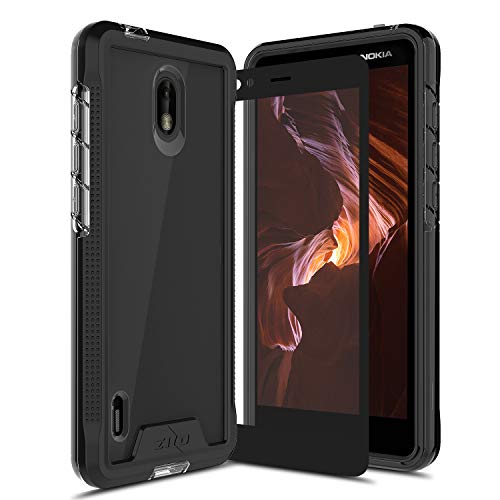 Nokia Series - Zizo Ion Series Compatible with Nokia 3.1 C Case Military Grade Drop Tested with Tempered Glass Screen Protector Black Smoke