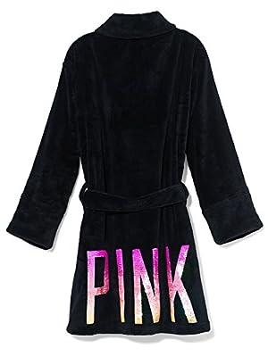 Victoria's Secret Pink Ombrè Bling Sequin Plush Robe, Black, XS/S