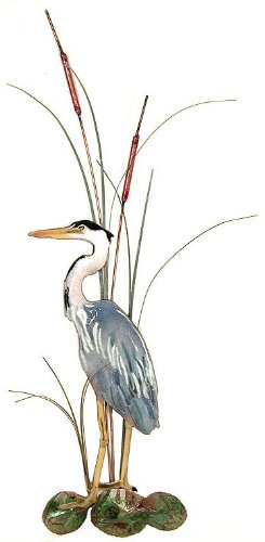 Bovano - Wall Sculpture - Small Great Blue Heron with Cattails Facing Left