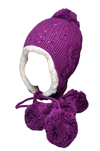 Price comparison product image Ambra Girls Warm Earflap Hat with Rhinestone Decorations