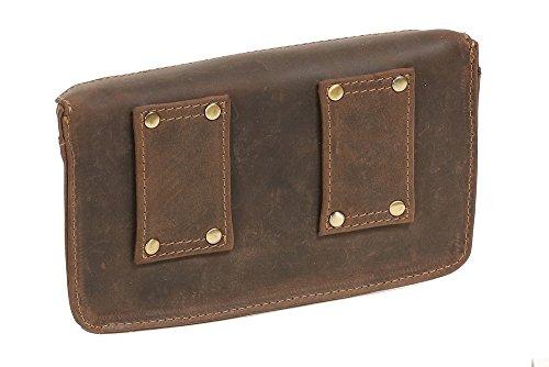Bolsa de cinturón escarcela faldriquera faltriquera para señores y señoras Vintage Style LEAS, Piel auténtica, marrón - ''LEAS Vintage-Collection''