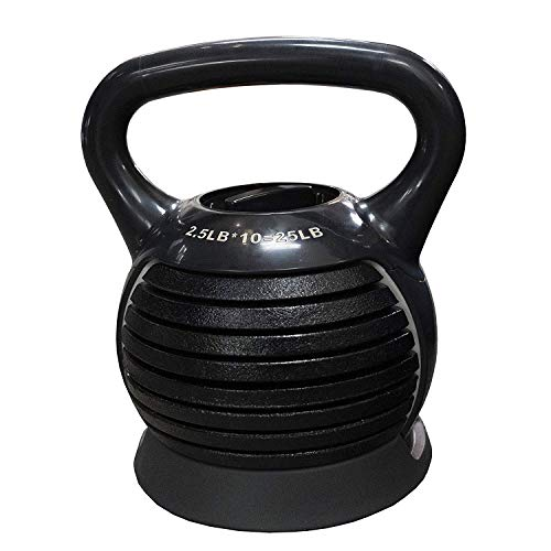 DoubleWin Adjustable Kettlebell Cast Iron Kettlebell Weights Set 2.5-25LBs Portable Strength Training Full Body Workout Equipment Home Use