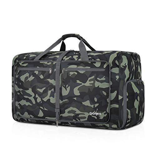 Gonex Foldable Travel Duffel 60L, Packable Luggage Duffle Bag Lightweight Water Repellent & Wear Resistant Black and Green Camouflage