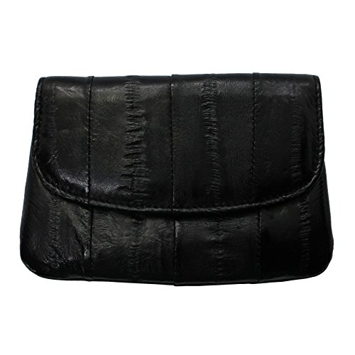 Purse Skin Eel (Rainbow Women's Genuine Eel Skin Leather Mini Credit Card Coin Purse (Black))