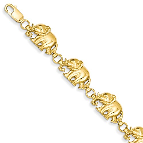 14kt Gold Elephant Bracelet - ICE CARATS 14kt Yellow Gold Elephant Bracelet 7 Inch Animal Fine Jewelry Ideal Gifts For Women Gift Set From Heart