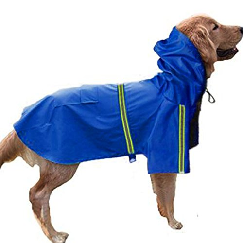 Dog Raincoat Leisure Waterproof Lightweight Dog Coat Jacket Reflective Rain Jacket with Hood for Small Medium Large Dogs(Blue,L)