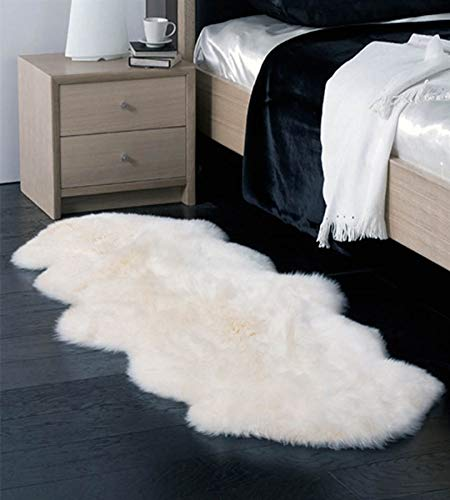 Double Australian Faux Sheepskin Fur Rug  Long Hair Cruelty-Free Handcrafted Bed Runner Shag Throw Area Rug Seat Couch Cover (2.5 x 6 ft, Ivory)