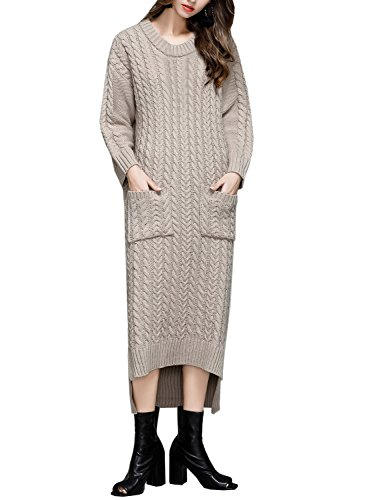 Futurino Women's Twisted Cable Knit High Low Side Slit Maxi Sweater Dress