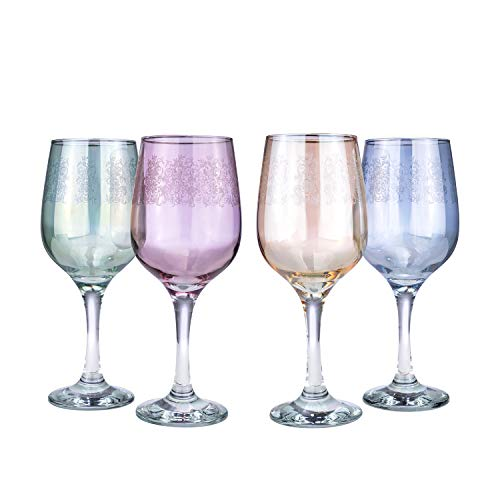 """""""Cristalleria Fratelli Fumo"""" Italian Crystal Wine Water Beverage Glasses, Multi-color Etched Goblets, Hand Made in Italy, Set of 4 (Nicole II)"""