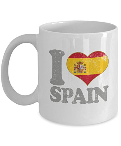 (I Love Spain Coffee Mug - 11oz White Ceramic Tea Cup. Spanish Flag Pride Novelty Madrid Barcelona Holiday Christmas Gift.)
