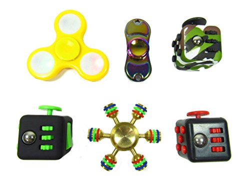 Oliasports Anxiety Attention Variety Pack 3 Fidget Cube Plus 3 of Deluxe Fidget Spinner Same as Pictured
