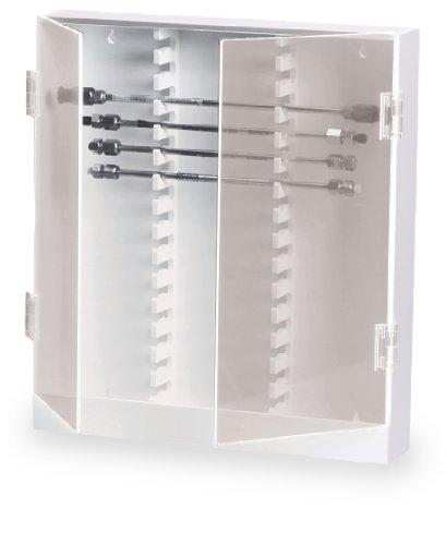 TrippNT 50004 White PVC Plastic 30 Column HPLC Storage Cabinet with Acrylic Doors, 15'' Width x 17'' Height x 3'' Depth by TrippNT
