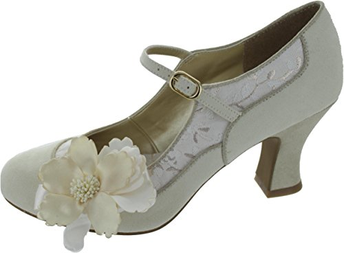 Rubino Shoo Womens Broccato Madelaine Mary Jane Pumps Crema Oro