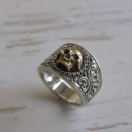 grim Reaper skull ring sterling silver biker Gothic Pirate memento mori men brass viking