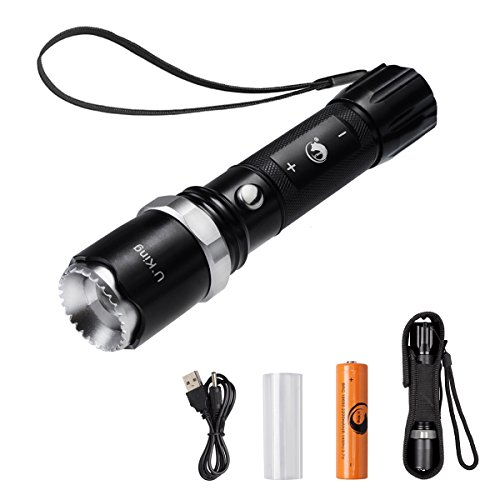 Tactical Flashlight, Rechargeable LED Handheld Torch Ultra Bright with Focusing Portable CREE XML-T6 1000 Lumens Direct Charging and 5 Light Modes by U`King