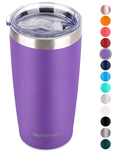 SUNWILL 20oz Tumbler with Lid, Stainless Steel Vacuum Insulated Double Wall Travel Tumbler, Durable Insulated Coffee Mug, Powder Coated Purple, Thermal Cup with Splash Proof Sliding Lid (Purple Tumblers)