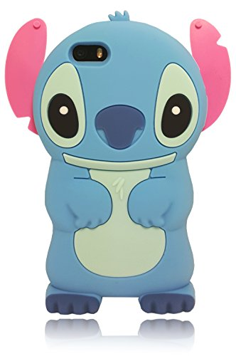 [FAST SHIP USA!] Cartoon 3D Soft Silicone Lilo Stitch Characters Cover Case For iPhone 5/5C/5S/5SE (Cute Girl Cartoon Characters)