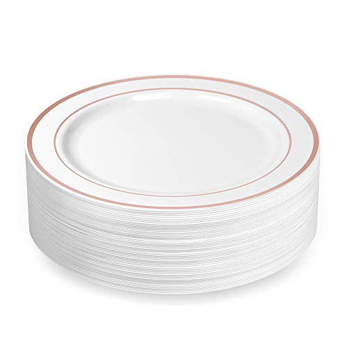 50 Large Plastic Disposable Dinner Plates | 10.25 inches White with Rose Gold Rim Real China Look | Ideal for Weddings, Parties, Catering - Heavy Duty & Non-Toxic (50-Pack) by - Rose White Plates