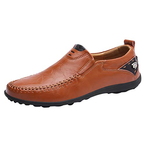 Men's Leather Slip-Ons Casual Shoes Breathable Driving Flats Flat Heel Shallow Mouth Walking Fashion Oxford Hiking Red
